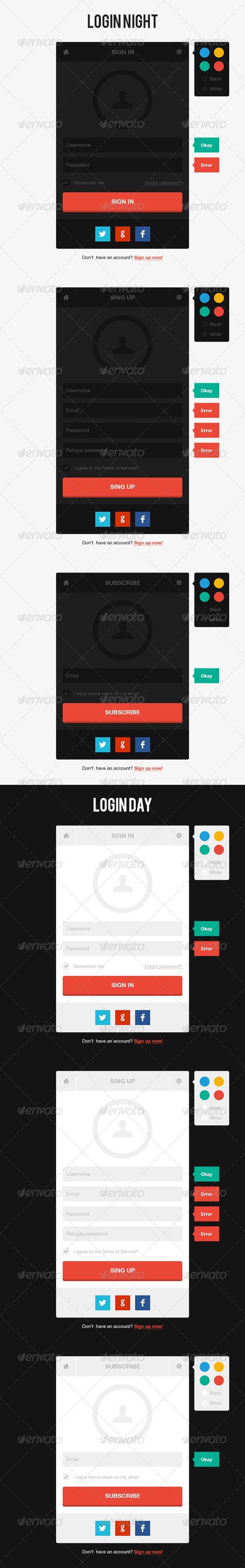 Day/Night Login Page