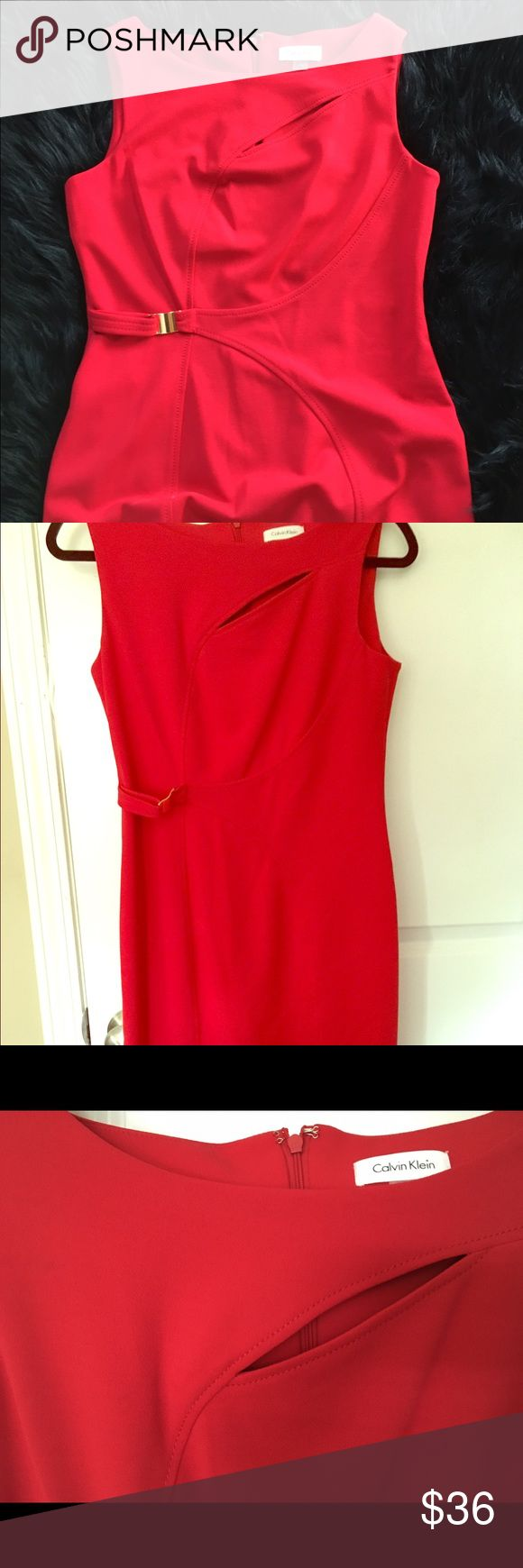 👠NWT👠CALVIN KLEIN STEATH👠 SUPER SEXY👠6 FIRE ENGINE RED WITH SLIT AT DÉCOLLETÉ AND SIDE BUCKLE MAKE THIS A WONDERFUL DRESS FOR EVERY OCCASION. JUST BELOW KNEE LENGTH. Calvin Klein Dresses Midi