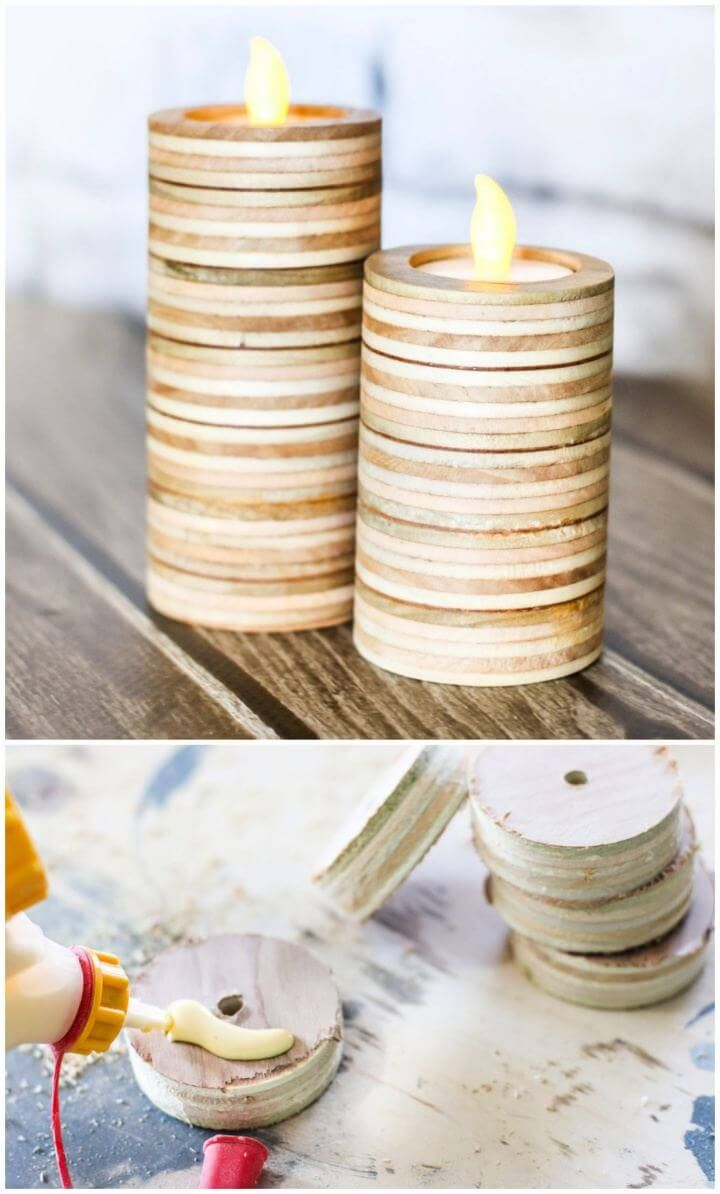 Scrap Plywood Candle Holders 50 Diy Candle Holder Ideas How To Make Candle Holders Creative Diys Diy Candle Holders Candle Holders Diy Candles
