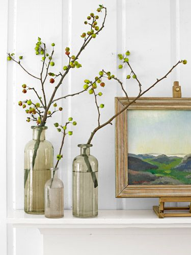 Add crabapple limbs to a vase for a striking fall display.Decor Ideas, Fall Decor, Thanksgiving Decor, Diy Wedding Centerpieces, Country Living, Bottle, Flower, Fall Display, Crabapple Branches