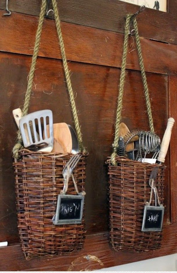 Kitchen- hanging baskets for tools that you'd often keep in containers on the counter.