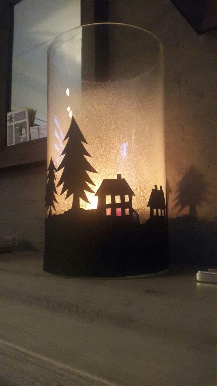 Kerst dorp op vaas