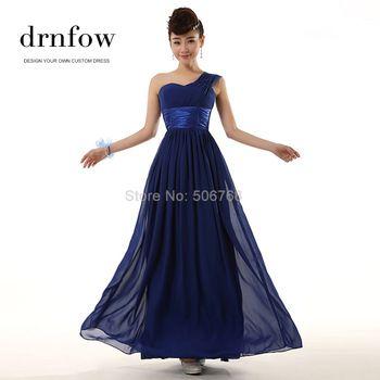 Новое монетный двор 2015 новый длинные платья невесты свадьба одно плечо узелок пром макси платье шифон цвет королевский синий фиолетовый красный