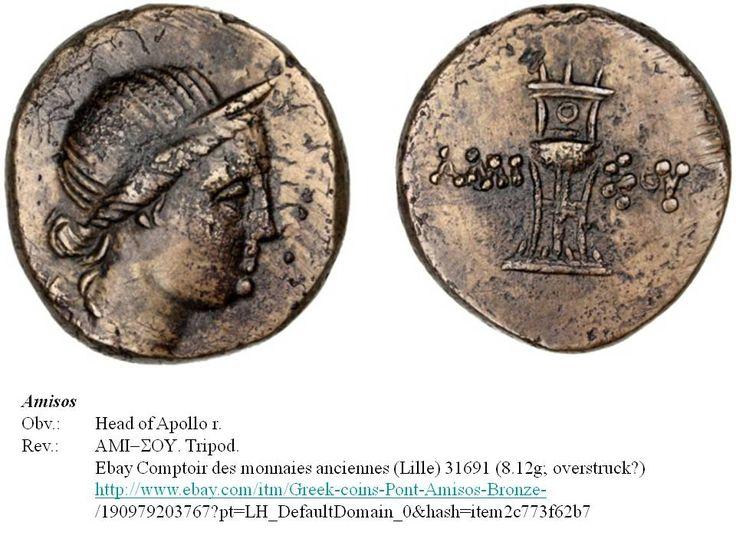 Greek overstrike? Pontus. Amisos. Head of Apollo/Tripod. Time of Mithradates Eupator.