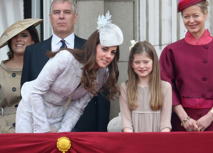 Kate Middleton - Catherine, Duchess of Cambridge chats to Estella Taylor on the balcony during Trooping the Colour - Queen Elizabeth II's Birthday Parade, at The Royal Horseguards on June 14, 2014 in London, England.