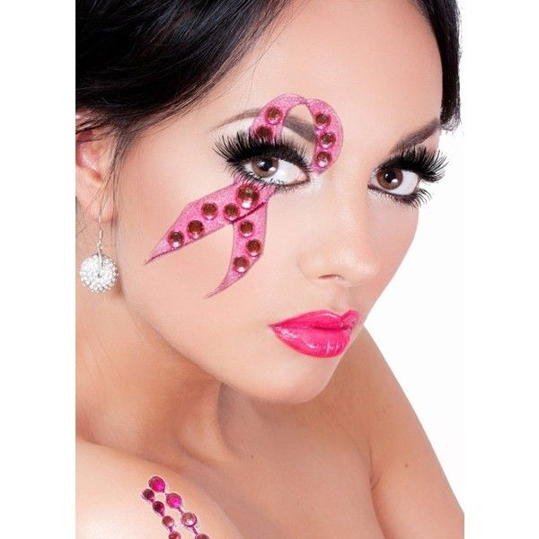 Breast Cancer Awareness Stick On Makeup (€18) ❤ liked on Polyvore featuring beauty products, makeup, going out makeup, glamorous makeup, party makeup, night out makeup и sexy makeup