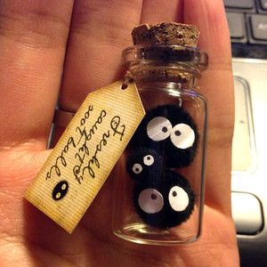 What a fun fan thing :) Family Soot Sprite! 2 large, baby soot ball. Spirited Away, Ghibli, Totoro