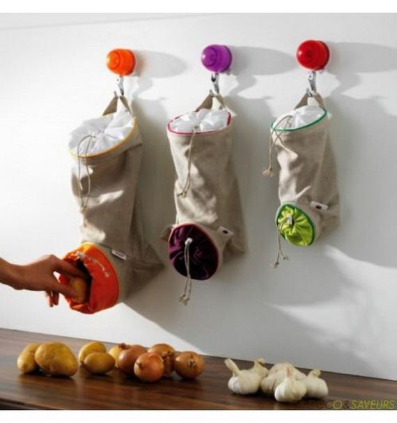 Smart Kitchen Storage Ideas for Small Spaces  fruit/veg sacks.
