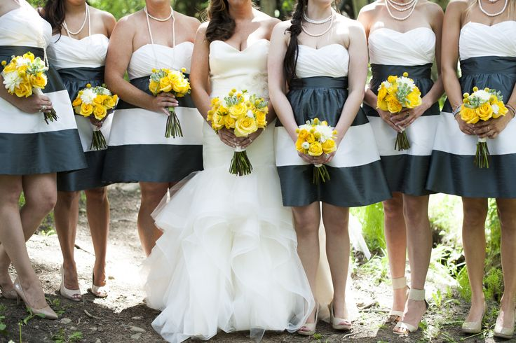 Blue and White Striped Bridesmaid Dresses