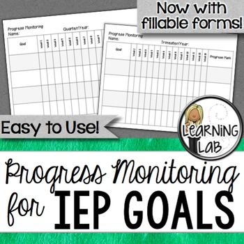 Make IEP goal progress monitoring easy with this form! Now includes a fillable (semi-editable) version! Each quarter (or trimester), you'll need to keep track of a student's IEP goals. With this chart, it is easy!