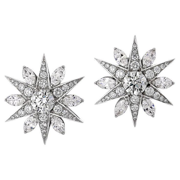 3.03 Carat Diamond Star Cluster Earrings in 18 Karat White Gold