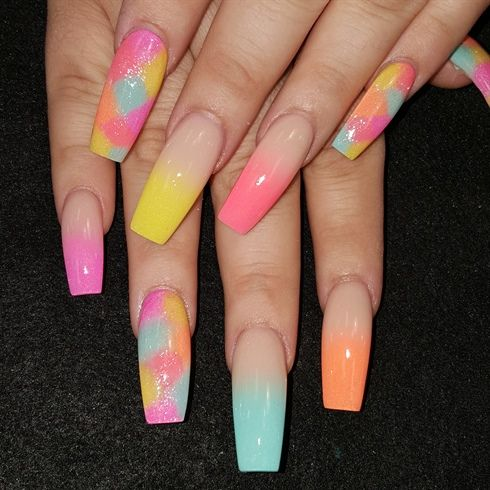 Spring multi ombre by from Nail Art Gallery - 251 Best Ombre Nail Art Images On Pinterest