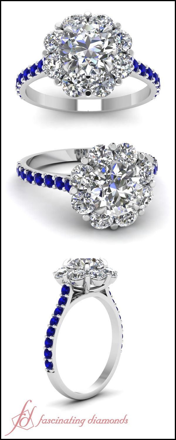 Blossom Halo Ring || Round Cut Diamond Engagement Rings With Blue Sapphire In 14k White Gold