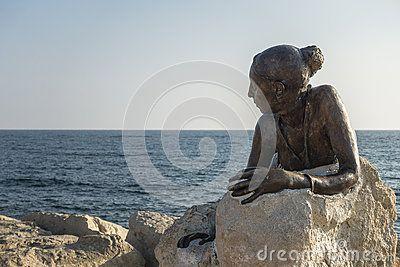 Monument to the women on the shores of the Mediterranean sea in Kyrenia. Cyprus