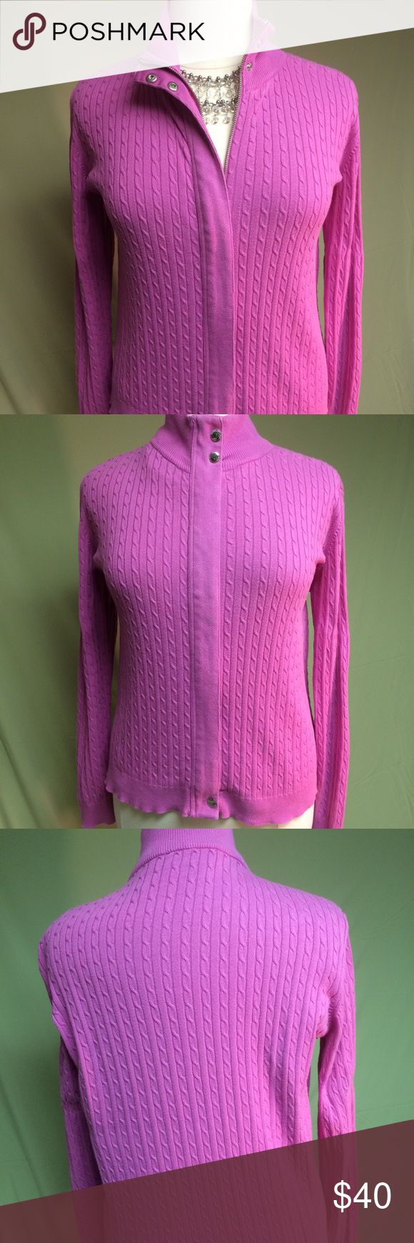 Lauren by Ralph Lauren Pink Zip Up Sweater Gorgeous Pink Zip Up Cable knit sweater features silver zipper from tip to bottom in EUC. Hidden zipper. Silver snaps at top and bottom.  Machine wash cold & Lay flat to dry. This sweater is 100% Cotton. Lauren Ralph Lauren Sweaters Cowl & Turtlenecks