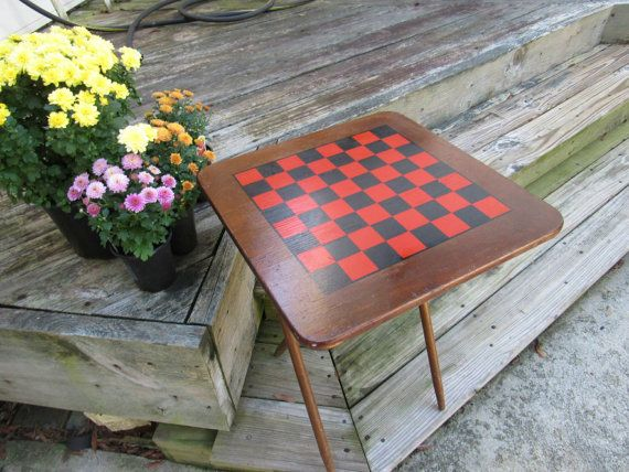 Vintage Wooden Folding Checkerboard Table