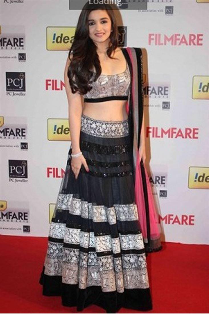 Aliya Bhatt Black Net Replica Bollywood Lehenga @ 50% discount.