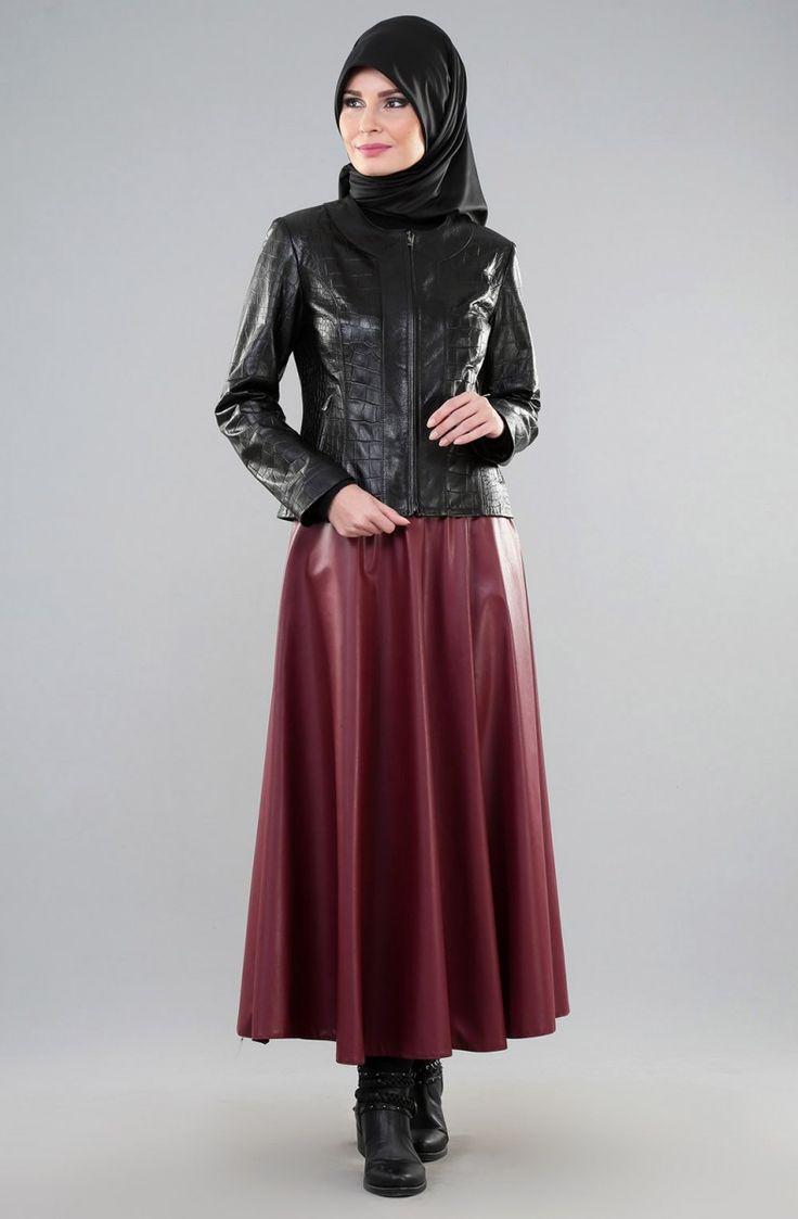 Pin Von Ayse Hijab Auf Hijab Fashion Lederrock Leder