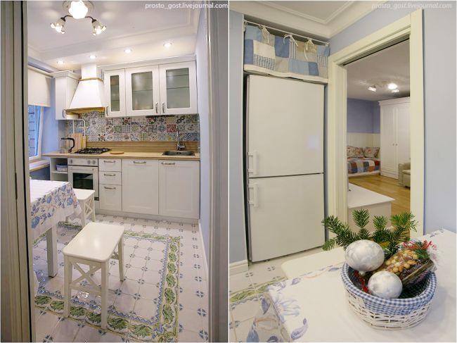 Дизайн кухни в хрущевке с раздвижной дверью