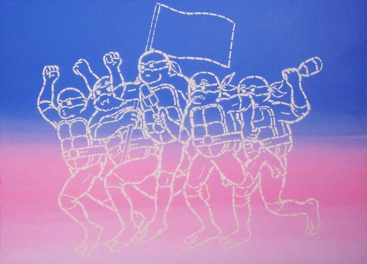 """""""Wniebowzięta demokracja"""", 140x100cm, akryl na płótnie, 2014r."""
