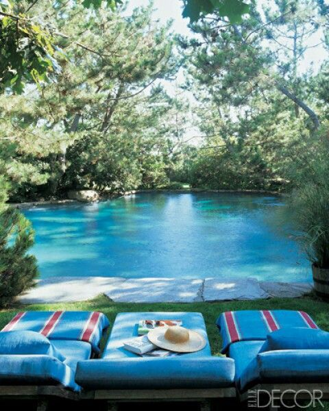Pool side--almost exactly perfect to what's in my mind for our pond!!