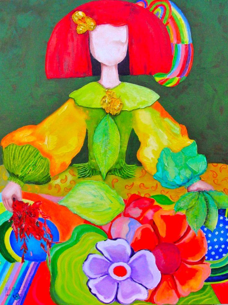 Mira esta Menina con esos colores tan bonitos trata de dibujar y pintar tu propia Menina al estilo Mexicano. Incluye símbolos y colores de México en tu diseño. Luego en papel para entregar describe tu imagen incluyendo palabras de transición e infomacion de un estado de México. (12 lineas) M. Melara    Imagen tomada de: www.maiterodriguez.es