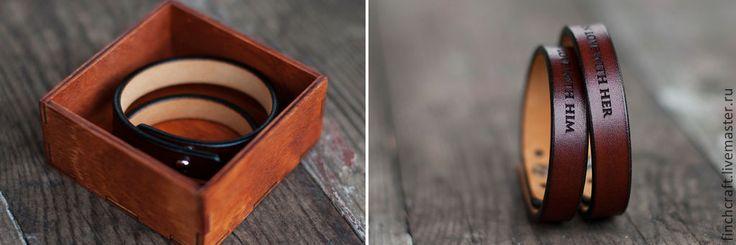 Купить Парные браслеты Finch Soul в деревянной упаковке - коричневый, браслет на заказ, браслет с гравировкой