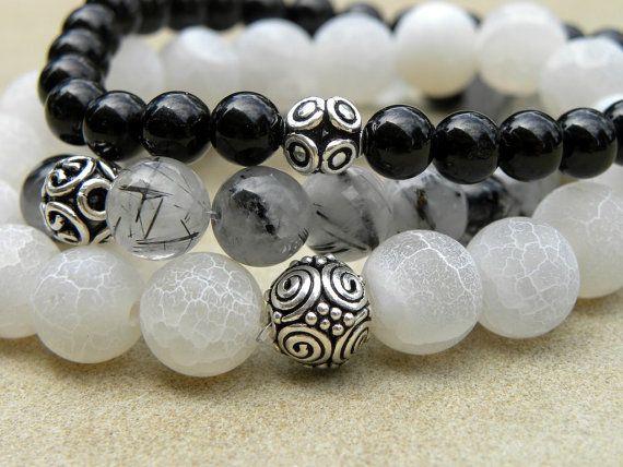 Gemstone Bead Bracelet Set of 3 - Agate, Tourmaline and Tourmalinated Quartz  Elastic Stacking Sterling Silver Black and White via Etsy