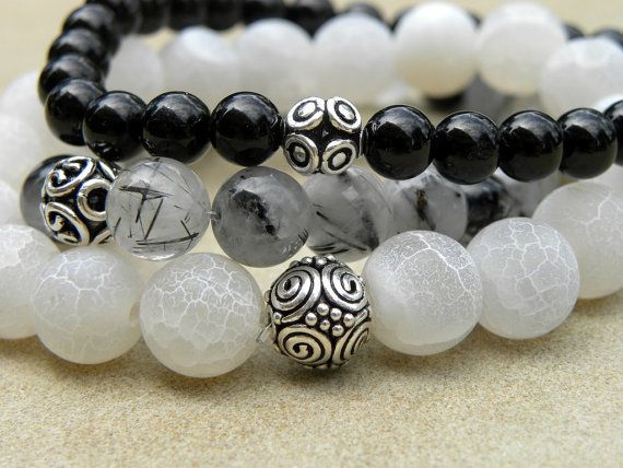 Gemstone Bead Bracelet Set of 3 - Agate, Tourmaline and Tourmalinated Quartz Elastic Stacking Sterling Silver Black and White via Etsy