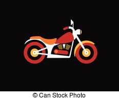 Red retro vintage motorcycle icon isolated on dark...