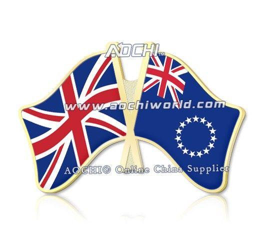 Mix высокое Качество и Матч Великобритания и Острова Кука Скрещенные Штыри Отворотом Флагов