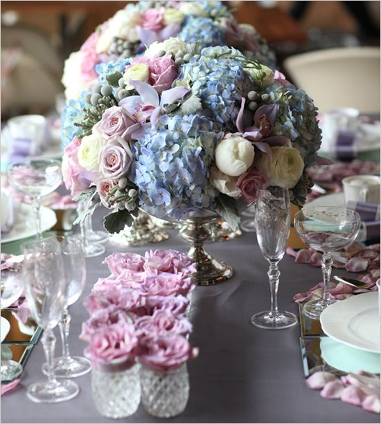 Blue purple cream peony orchid hydrangea rose berry for Pink and blue flower arrangements
