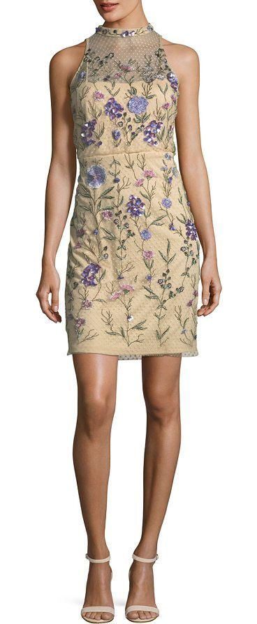 "Embellished Floral Lace Mock-Neck Mini Dress by Aidan Mattox. EXCLUSIVELY AT NEIMAN MARCUS Aidan Mattox mini dress with floral-beaded Swiss dot overlay. Approx. 36.3""L down center back. High jewel neckline; button-keyhole back. Sleeveless; lace yoke. Sheath silhouette. Hidden back zip. Spot clean. ... #aidanmattox #dresses"