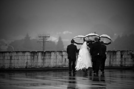 Bride + the fellas. Rainy day - still gorgeous shots!