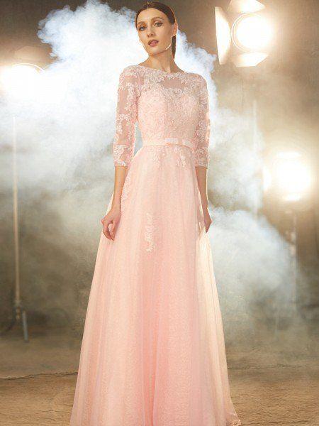 eb854434ca1e A-Line Princess Bateau 1 2 Sleeves Floor-Length Applique Tulle Dresses