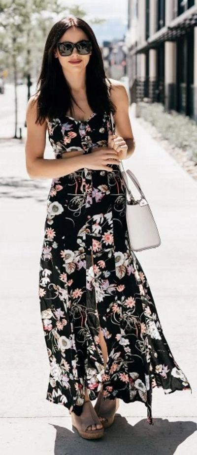 #spring #fashion #outfitideas | Black Floral Maxi Dress | Love By Lynn