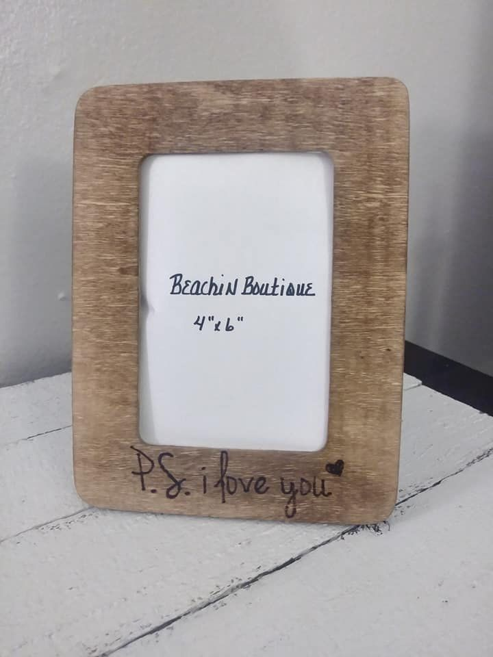 P S I Love You Wood Clip Photo Memo Frame Standing Frame Engraved Photo Holder 4 X 6 With Images Wood Clips Frame Stand Photo Engraving