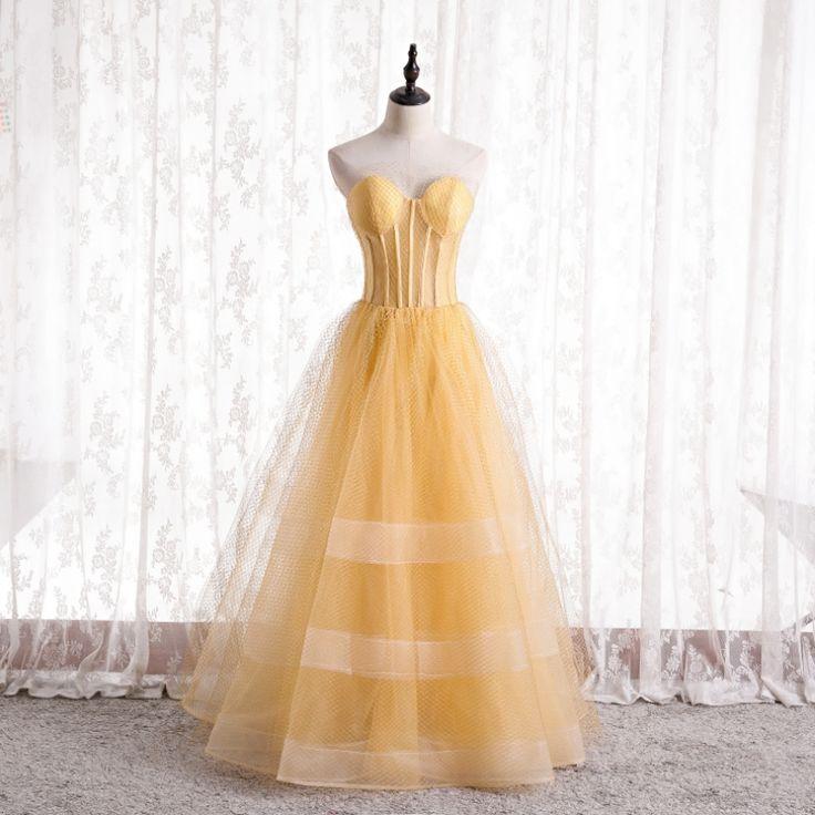 Classy yellow corset prom dresses 2021 aline princess