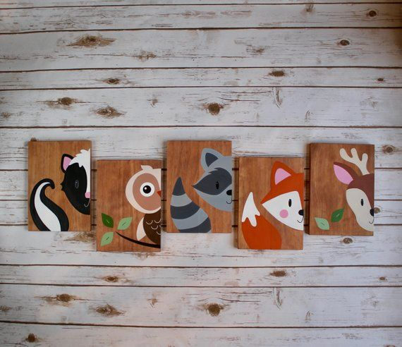 Baby Nursery bedroom wall art decor, woodland forest animal friends. Hand painte…