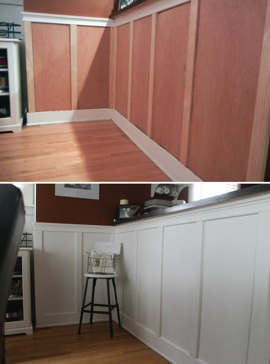 diy wainscotting, did this in our dining room, the spacing got a little tricky, but so worth and so inexpensive.  We bought two pieces of plywood and had lowes cut them into two and tree inch strips.  We sanded all, cut, prime and painted.  Absolutely love the results