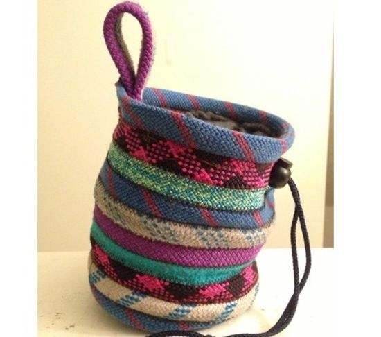 Recycled rope chalk bag for climbing. Genius!!
