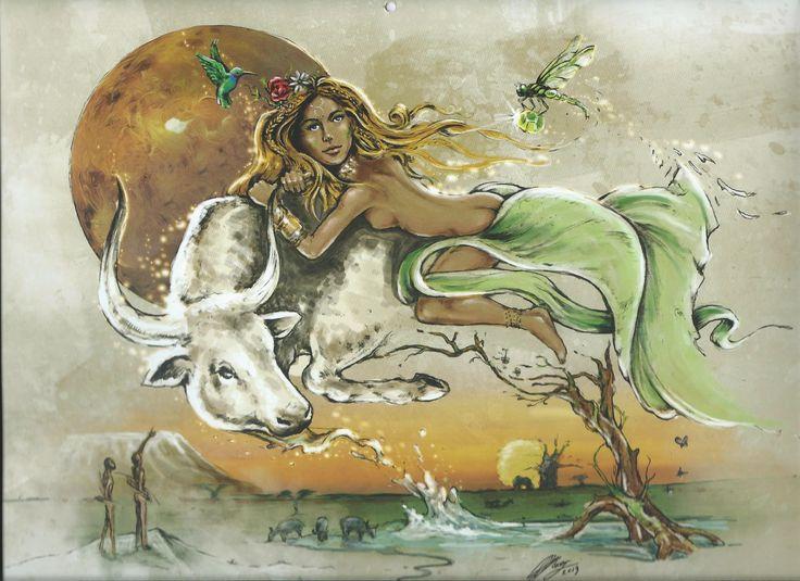 TAURUS - African Zodiac from 2014 Art Publishers Calendar Illustrations by Blue Ocean Design