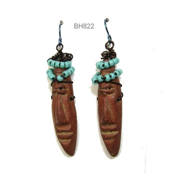 One of a Kind Ceramic Clay Dangle Earrings with Hand Made Easter Island Guy Face Beads, Turquoise Seed Beads and Niobium Ear Wires