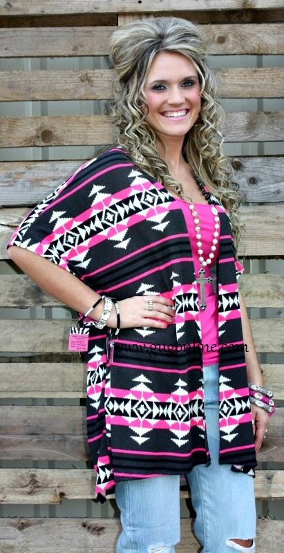 What I've Got Charcoal and Pink Aztec Kimono www.gugonline.com