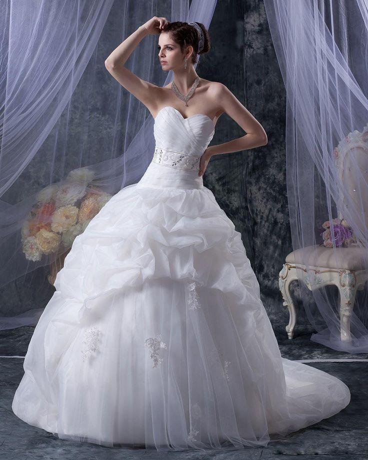 Sweetheart Beading Organza Ruffle Chapel Ball Gown Wedding Dress  Read More:     http://www.weddingsred.com/index.php?r=sweetheart-beading-organza-ruffle-chapel-ball-gown-wedding-dress.html
