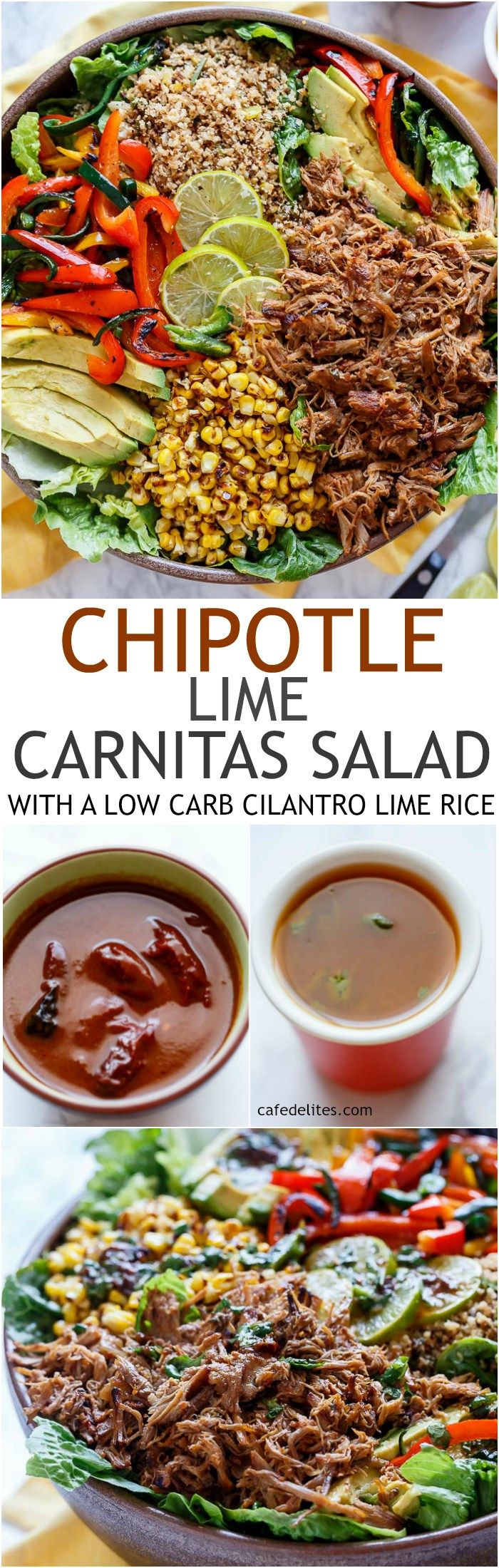 Chipotle Lime Carnitas Salad   Crispy Carnitas in a salad drizzled with an incredible Chipotle Lime Dressing and a low carb Cilantro Lime Rice!   http://cafedelites.com
