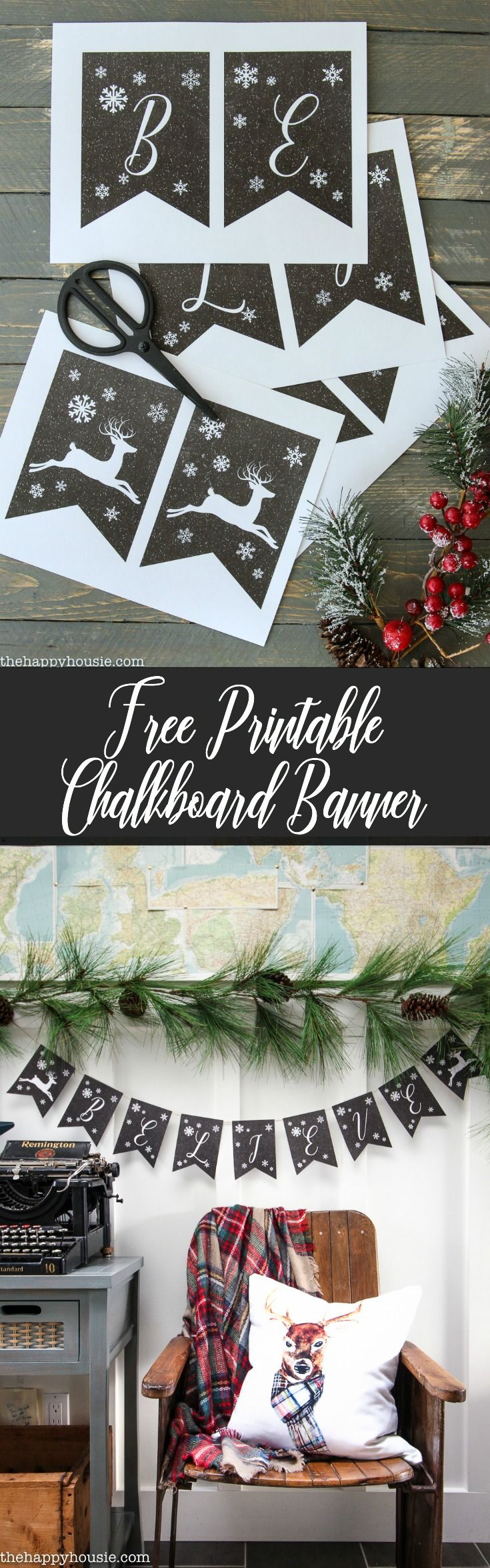 free bridal shower printable banner%0A Faux Chalkboard Free Printable Christmas Banner