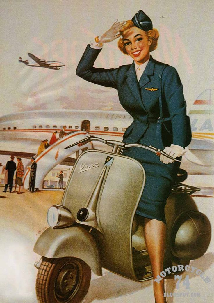 A happy stewardess heading away from a Connie on her new Vespa. It's impossible to look at this and not assume that everything in the '50s was spectacular.