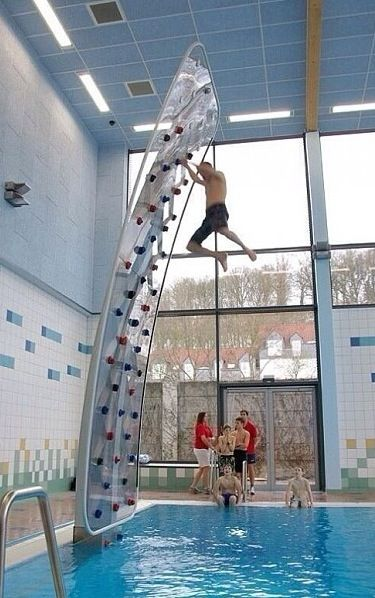 Rock climbing in a pool would be great fun.
