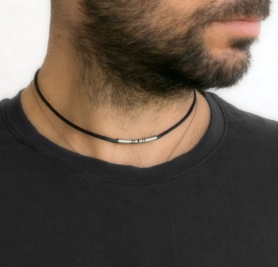 Ethnic silver & black leather choker necklace for men (Unisex).  This beautiful choker necklace is made of nickel & plated silver on black round